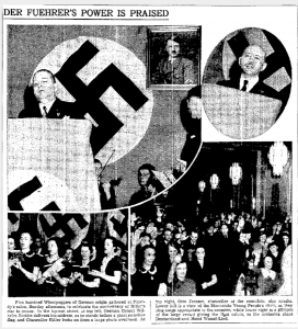 Mennonite youth perform at a Nazi rally in Winnipeg, 1939